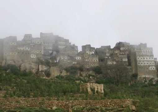 Al Hajjarah Village In The Fog, Jabal Haraz , Yemen