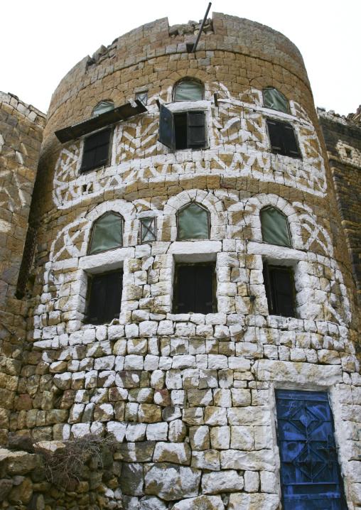 Four Storey Brick House Decorated With White Paintings, Al Hajjara, Yemen
