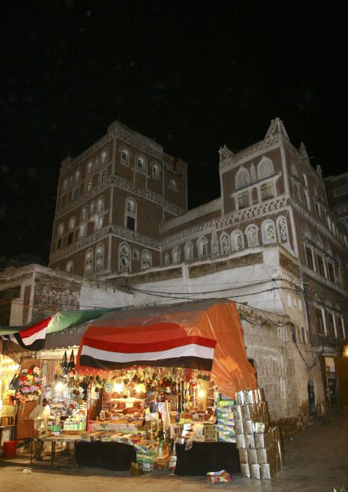 Shop In Sanaa Old Souq, Covered With Yemeni Flags, Yemen