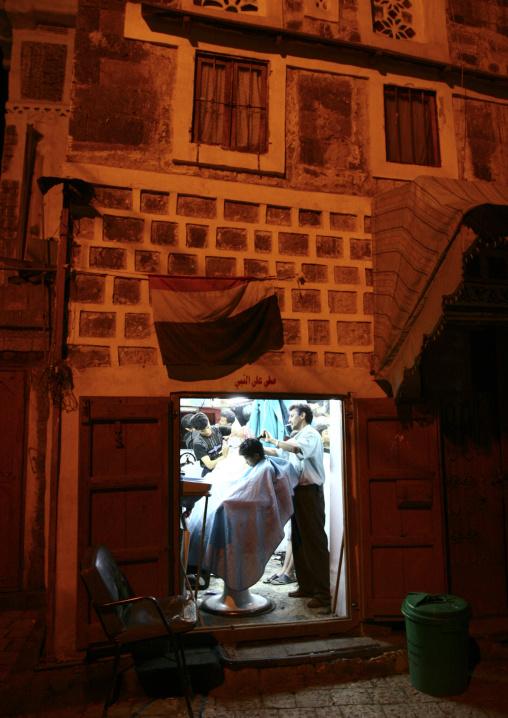 Barber Still Open At Night, Sanaa, Yemen