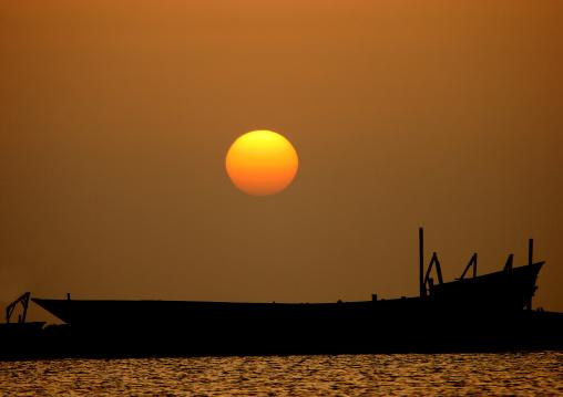 Amazing Sunset Over A Shadow Dhow, Al Kukhada, Red Sea, Yemen