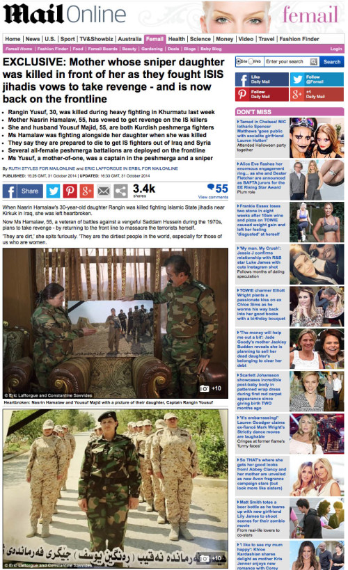 Daily Mail - Peshmerga woman