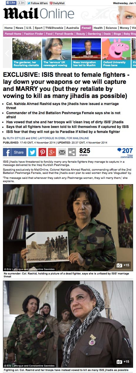 Daily Mail - Peshmerga woman 2