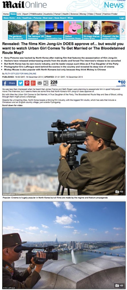 Daily Mail - Sony pictures in North Korea