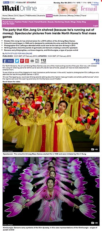 Daily Mail - Arirang in North Korea