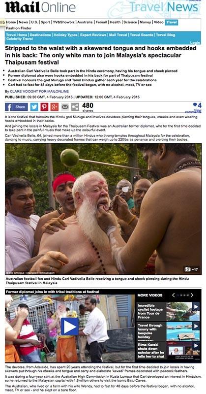 Daily Mail - Thaipusam festival